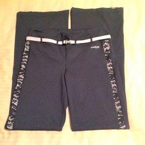 Bebe Sport Dangerous Belted Pants Black/Pink S LRG